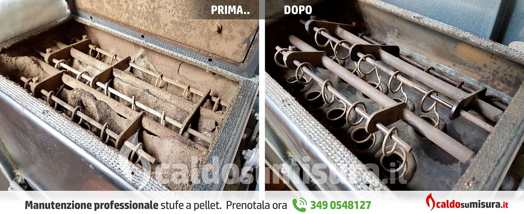 manutenzione stufa a pellet - prima e dopo